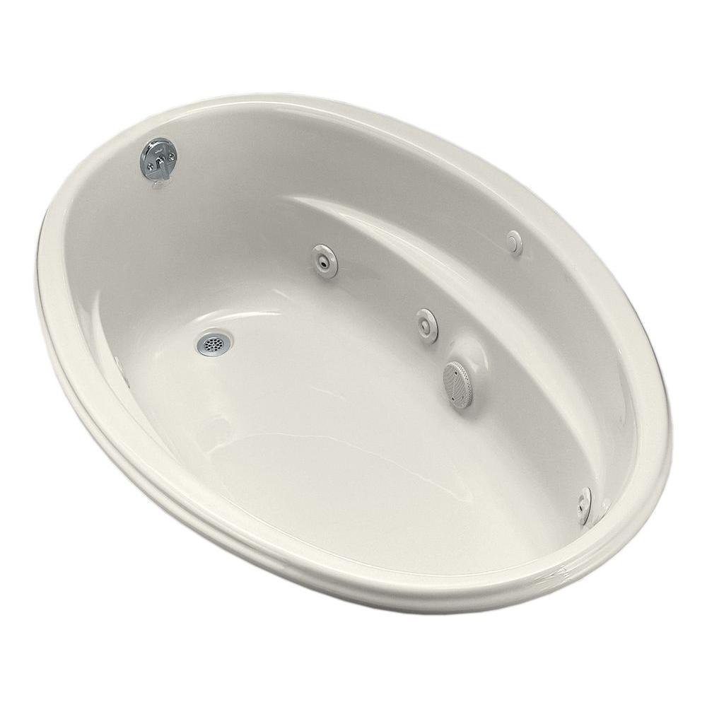 KOHLER ProFlex 5 ft. Acrylic Oval Drop-in Whirlpool Bathtub in ...