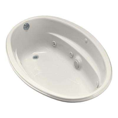 ProFlex 5 ft. Acrylic Oval Drop-in Whirlpool Bathtub in Biscuit