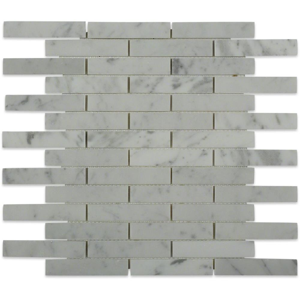Splashback Tile Big Brick White Carrera 12 in. x 12 in. x 8 mm Mosaic Marble Floor and Wall Tile
