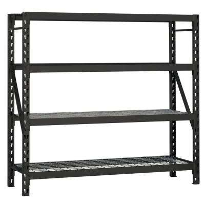 77 in. W x 78 in. H x 24 in. D 4-Shelf Welded Steel Garage Storage Shelving Unit with Wire Deck in Black