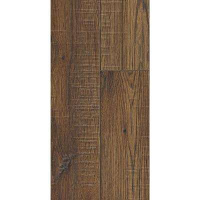 Take home sample distressed brown hickory laminate flooring 5 in x 7 in