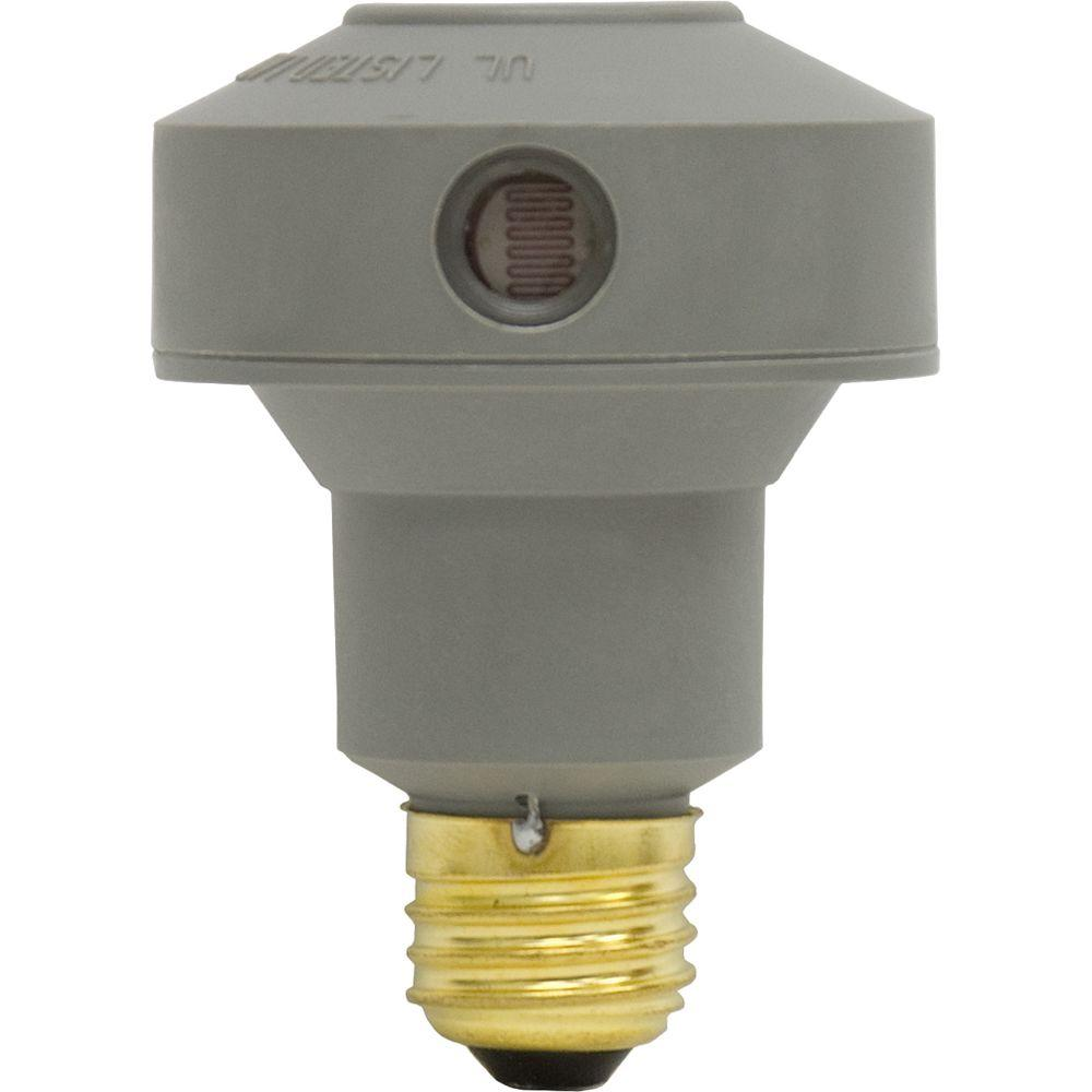 GE 150 Watt Extended Base Automatic Light Sensing Control for LED, CFL or Incandescent Bulbs - Gray