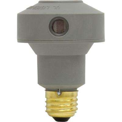 150 Watt Extended Base Automatic Light Sensing Control for LED, CFL or Incandescent Bulbs - Gray