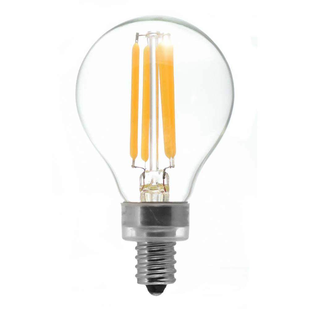 40-Watt Equivalent G16.5 Candelabra Base Dimmable Clear LED Light Bulb Warm White