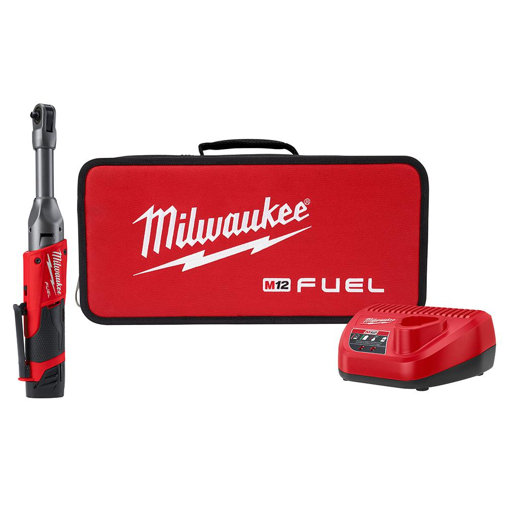 Milwaukee M12 FUEL 12-Volt Lithium-Ion Brushless Cordless 1/4 in. Extended Reach Ratchet Kit with One 2.0 Ah Batteries