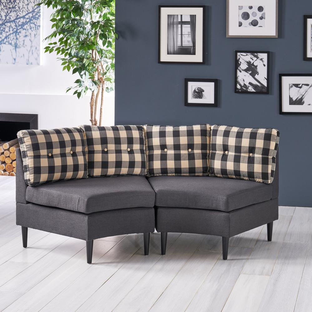 Incredible Noble House Jazmine 2 Seater Black Checkerboard Sectional Uwap Interior Chair Design Uwaporg