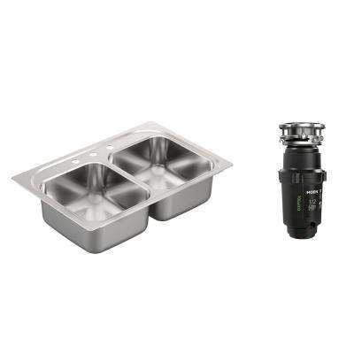 2000 Series Drop-in Stainless Steel 33 in. 3-Hole Double Basin Kitchen Sink with GX Pro Series 1/2 HP Garbage Disposal