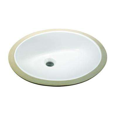 Oval Undermounted Bathroom Sink in White