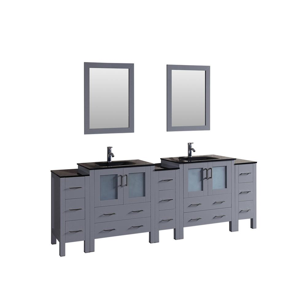 Bosconi 96 in. Double Vanity in Gray with Tempered Glass Vanity Top in Black with Black Basin and Mirror