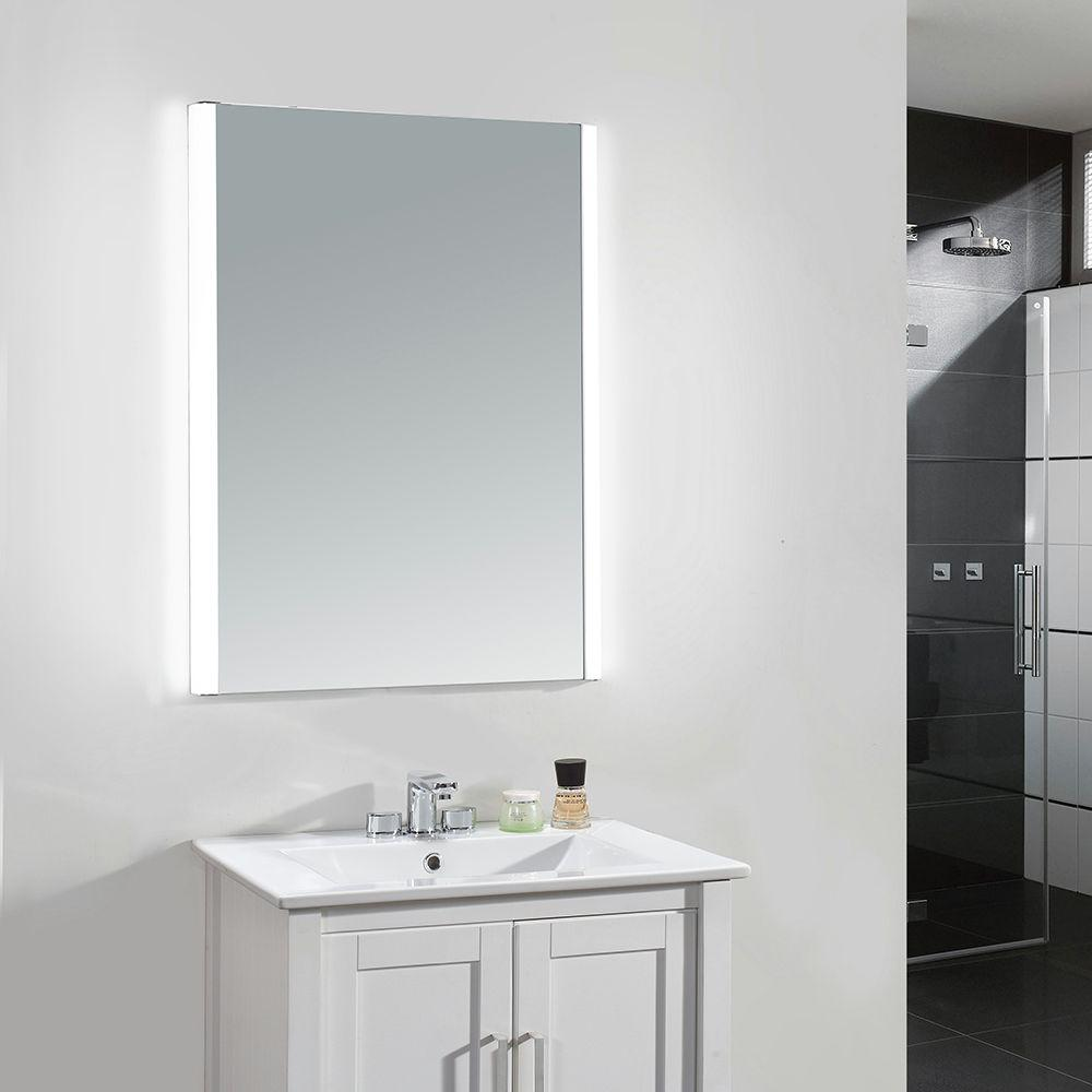 W Single Wall Led Mirror In Chrome Ove Dl 22ss The Home Depot