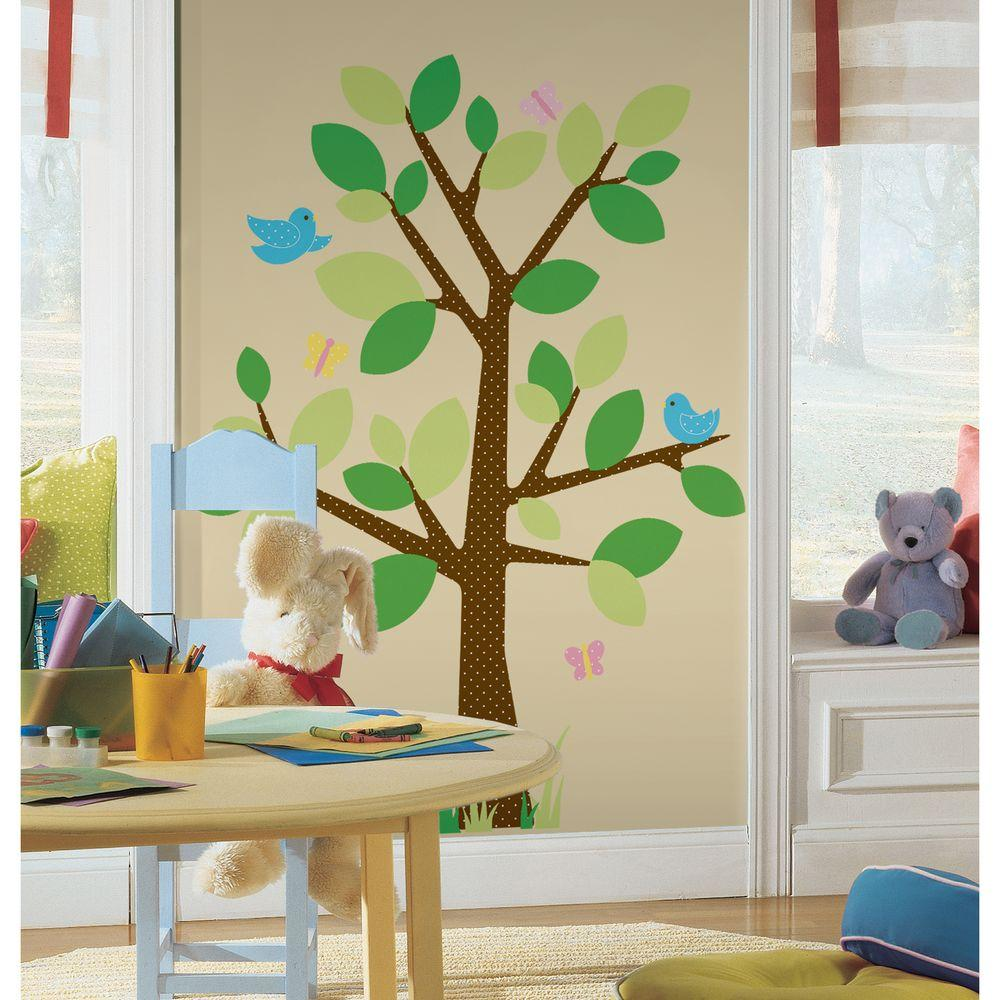18 in. x 40 in. Dotted Tree 48-Piece Peel and Stick