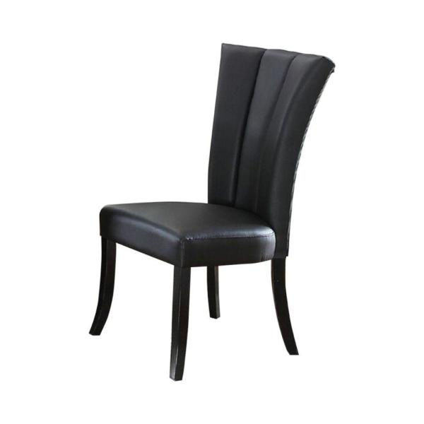 Black Leather Upholstered Dining Chair in Poplar Wood (Set of 2)