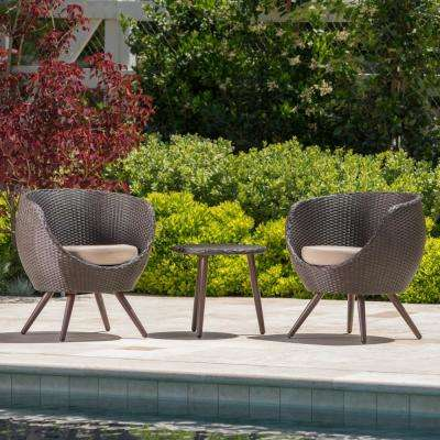 Easter Island Multi-Brown 3-Piece Wicker Patio Conversation Set with Light Brown Cushions