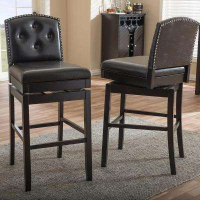 Baxton Studio Ginaro Brown Faux Leather Upholstered 2-Piece Bar Stool Set by Baxton Studio