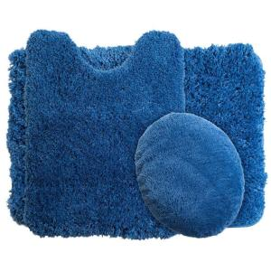 Lavish Home Navy 19.5 inch x 24 inch Super Plush Non-Slip 3-Piece Bath Rug Set by Lavish Home