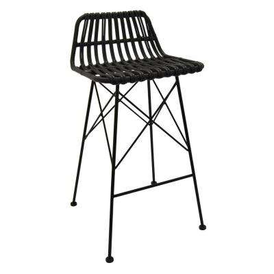 37 in. Black Metal Bar Stool