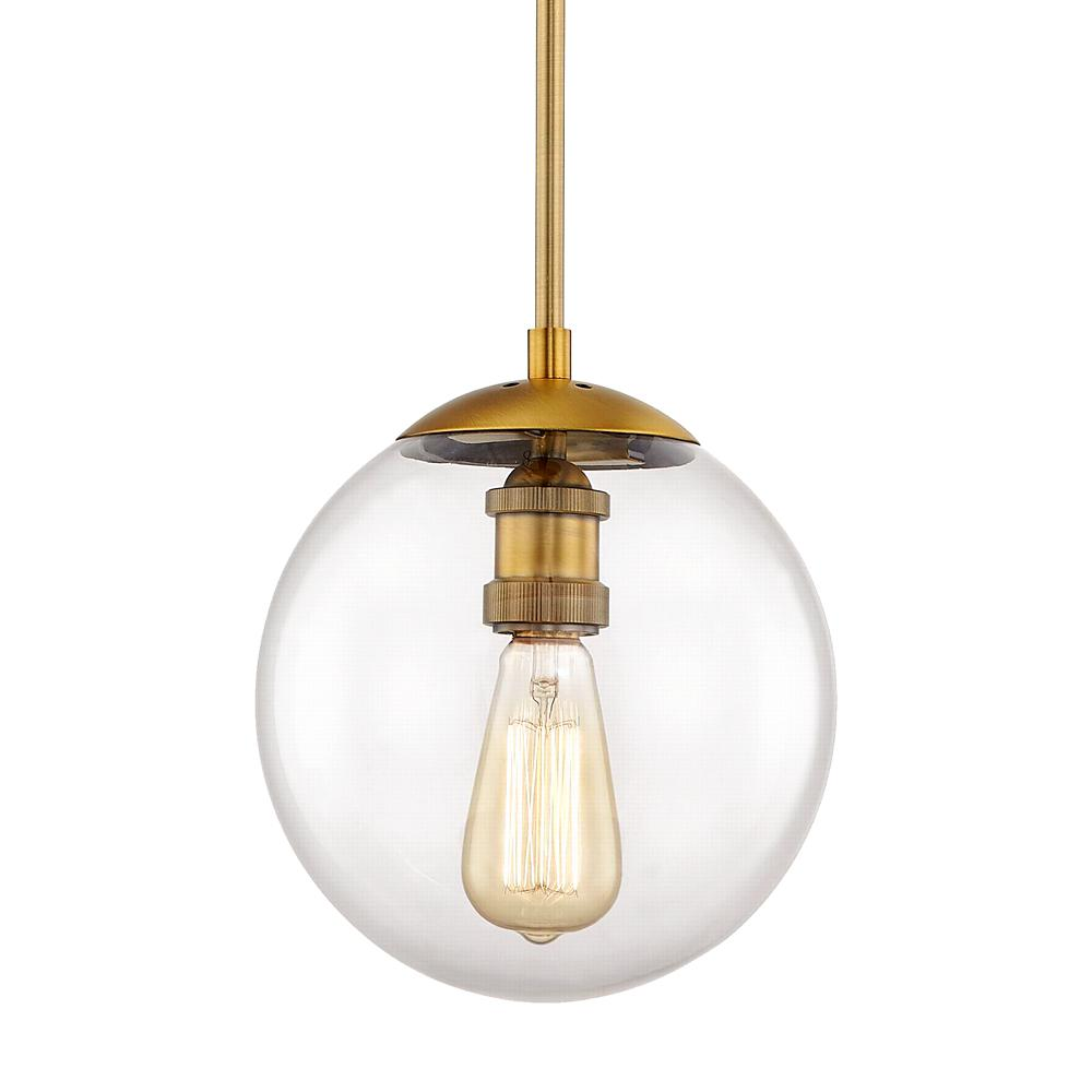 Home Decorators Collection 9 in.1-Light Aged Brass Globe Pendant with Vintage Bulb Included