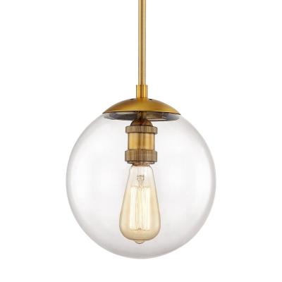 9 in.1-Light Aged Brass Globe Pendant with Vintage Bulb Included