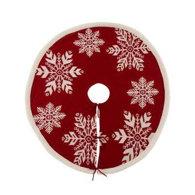 48 in. D Knitted Christmas Tree Skirt in Snowflake