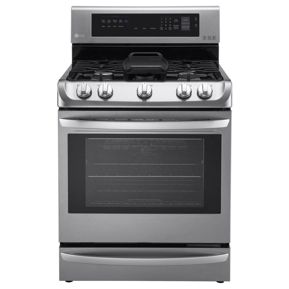 LG Electronics 6.3 cu. ft. Gas Range with ProBake Convection Oven in Stainless Steel