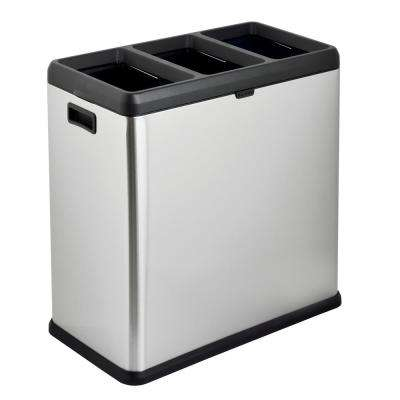 16 Gal. 3 Compartment Open Top Trash and Recycling Bin