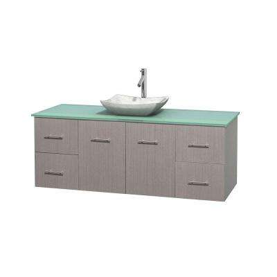 Centra 60 in. Vanity in Gray Oak with Glass Vanity Top in Green and Carrara Sink