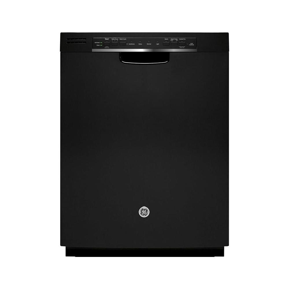GE Front Control Dishwasher in Black with Stainless Steel Tub and Steam Prewash, 48 dBA