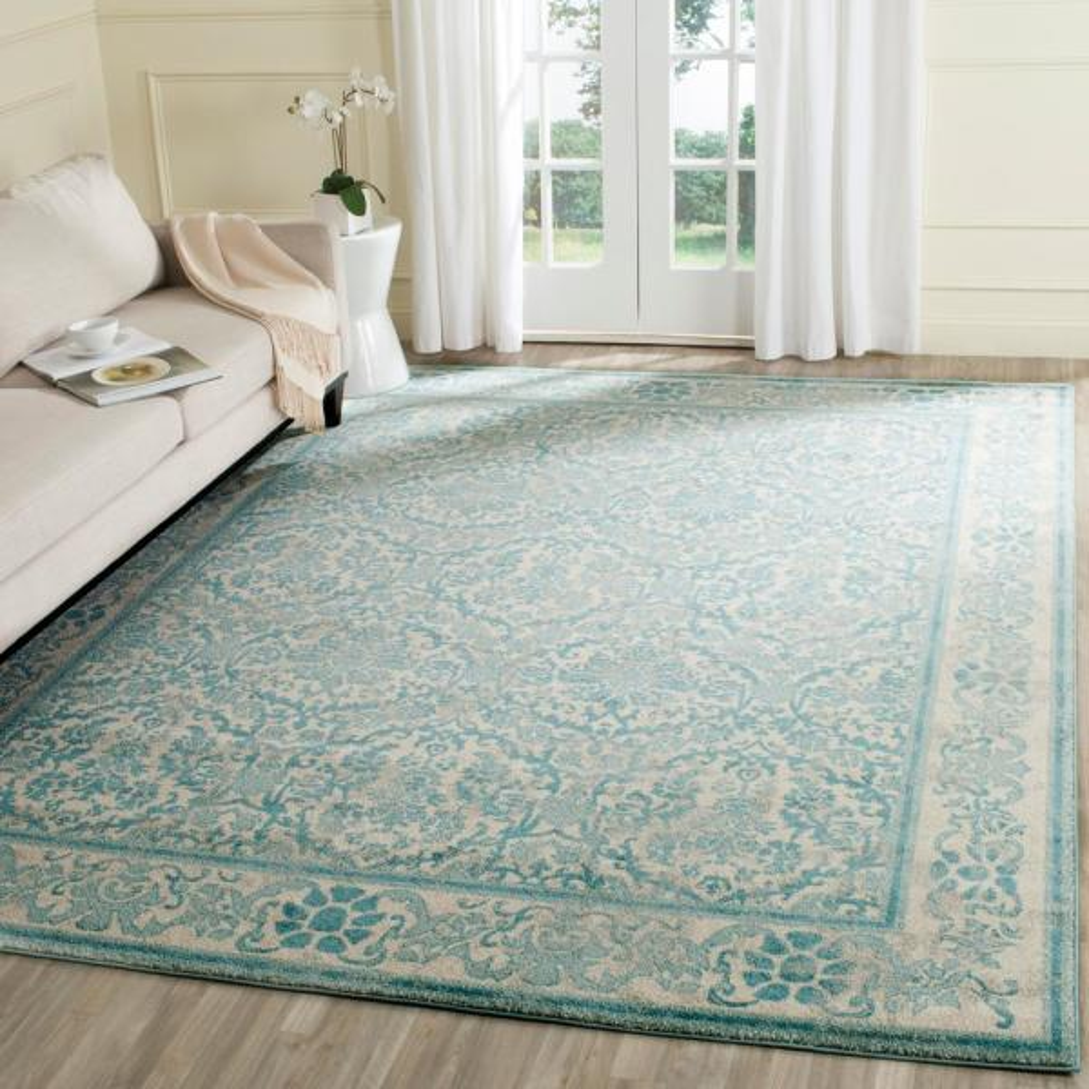 Safavieh Evoke Ivory Light Blue 8 Ft X 10 Ft Area Rug Evk242c 8 The Home Depot