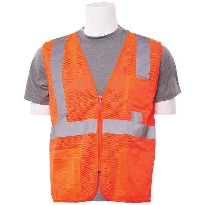 S363P XS Class 2 Economy Poly Mesh Pocketed and Zippered Hi Viz Orange Vest