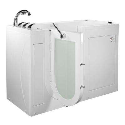 60 in. Lounger Acrylic Walk-In Whirlpool and Air Tub in White, L-Outward Door,Digital Control,Heated Seat,Faucet