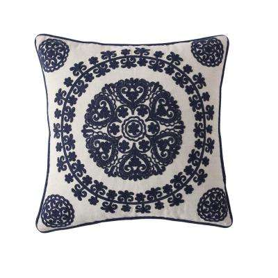 Morgan Home 18 in. Isabella Navy Medallion Throw Pillow Cover