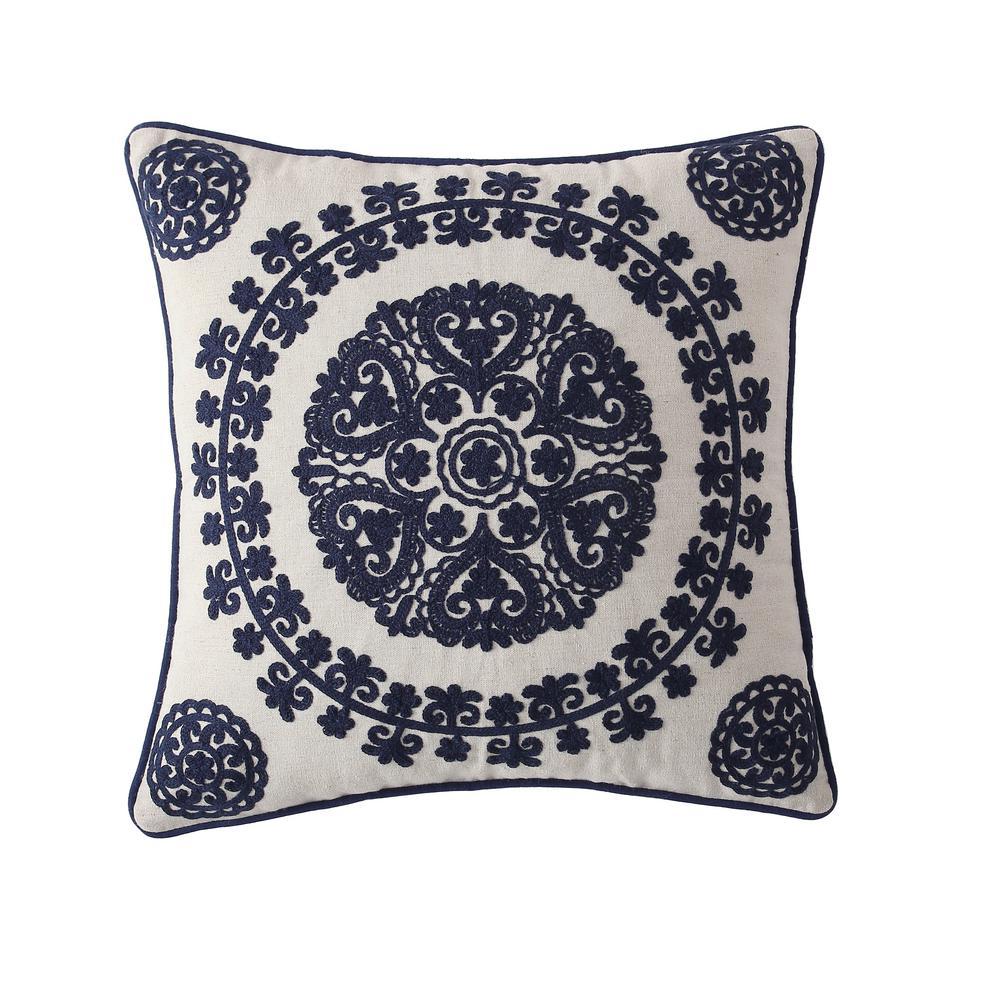 Morgan Home 18 in. Isabella Navy Medallion Throw Pillow Cover