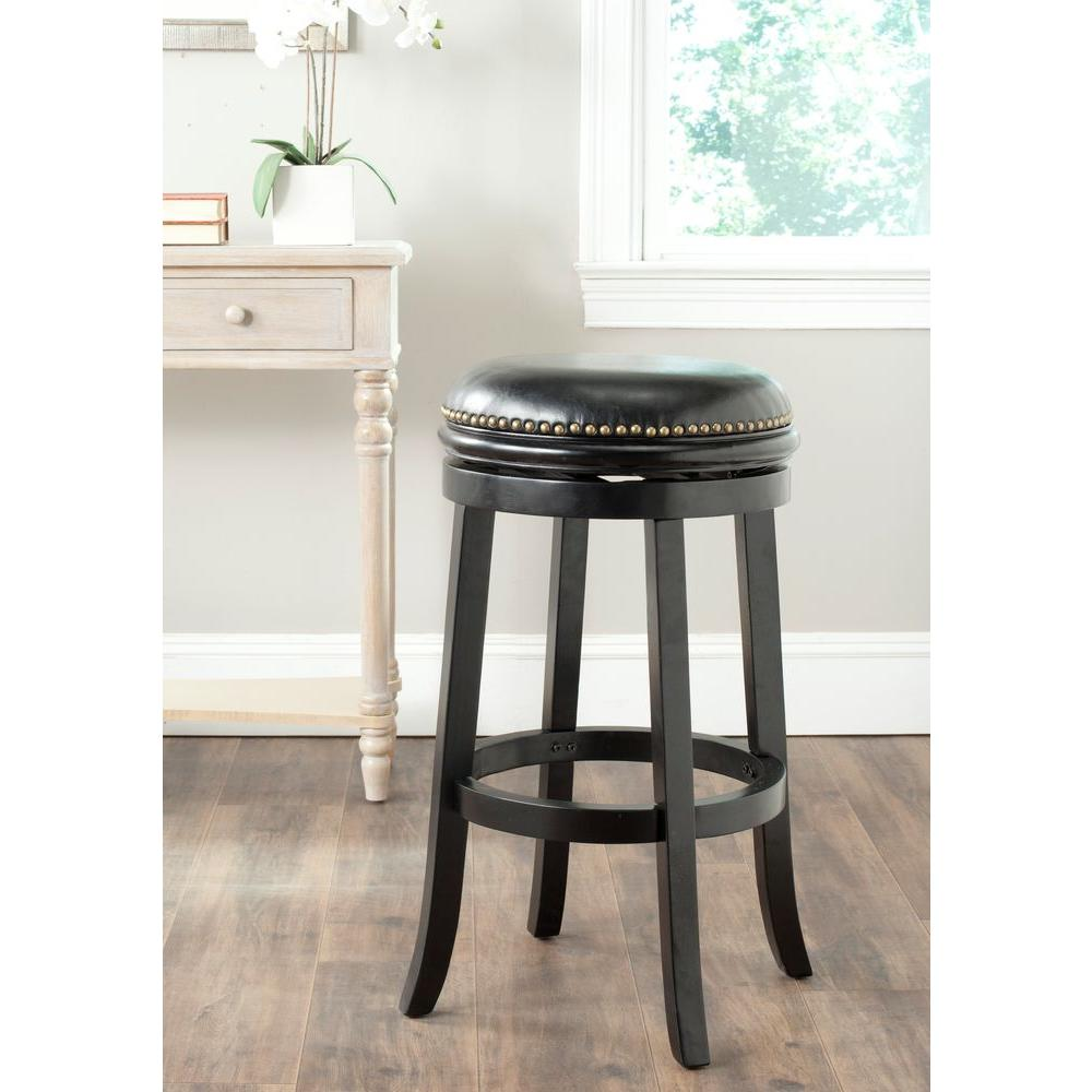 Biagio 29 in. Black Swivel Cushioned Bar Stool