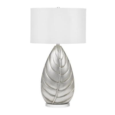 Cresswell 32 in. Silver Leaf Coastal Palm Leaf Table Lamp and LED Bulb