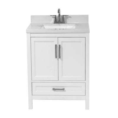 Salerno 25 in. Bath Vanity in White with Cultured Marble Vanity Top with Backsplash in Carrara White with White Basin