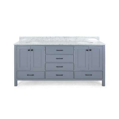 Lyndon 60 in. W x 22 in. D Bath Vanity with Carrara Marble Vanity Top in Grey with White Basin