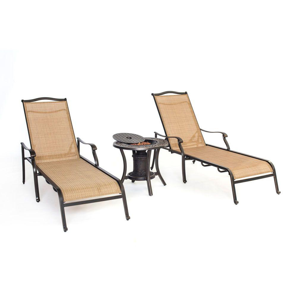 Hanover Monaco 3 Piece Patio Chaise Lounge Set With Fire Urn Side Table
