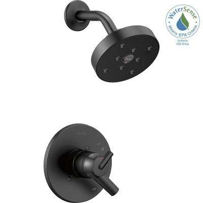 Trinsic 1-Handle Wall Mount Shower Trim Kit with H2Okinetic in Matte Black (Valve Not Included)