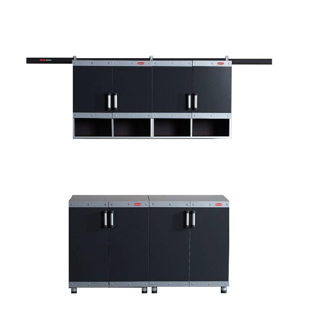 Rubbermaid FastTrack Garage Laminate Cabinet Set in Black/Silver (4-Piece)