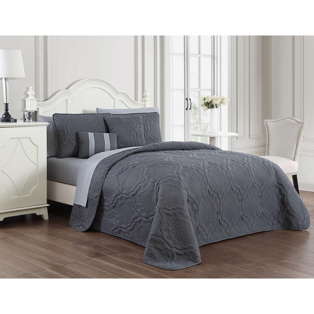 Nolie 9-Piece Grey Queen Quilt Set