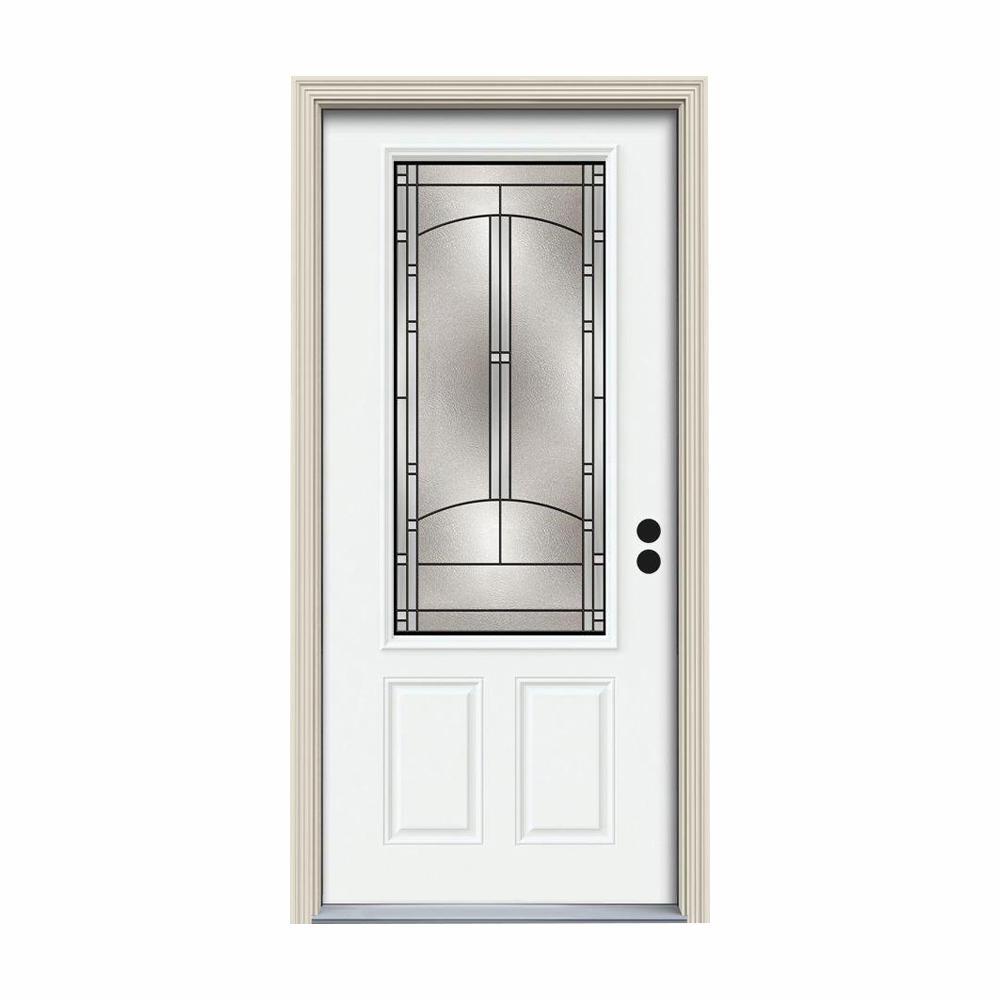36 in. x 80 in. 3/4 Lite Idlewild White Painted Steel Prehung Left-Hand Inswing Front Door w/Brickmould