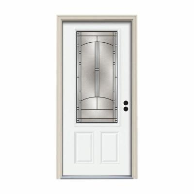 36 in. x 80 in. 3/4 Lite Idlewild White Painted Steel Prehung Left-Hand Inswing Front Door w/Brickmould