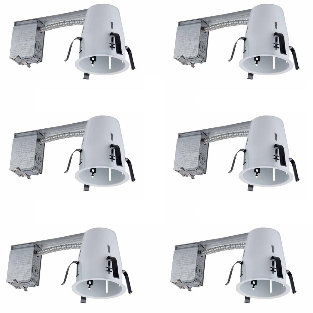 Commercial Electric 4 in. White Recessed Non-IC Remodel Housing (6-Pack)