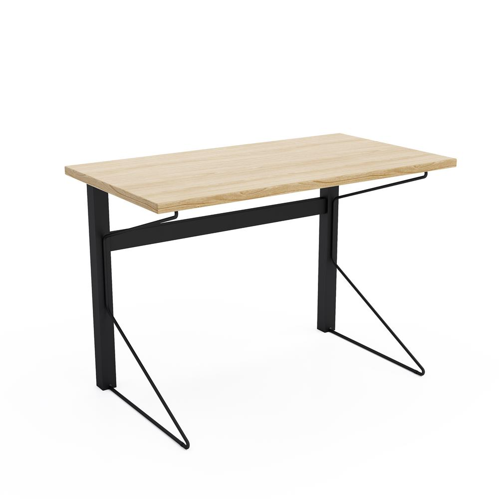 Jamesdar Carnegie Black Steel Desk With Natural Wood Finish Top