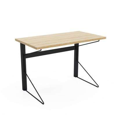 Carnegie Black Steel Desk with Natural Wood Finish Top