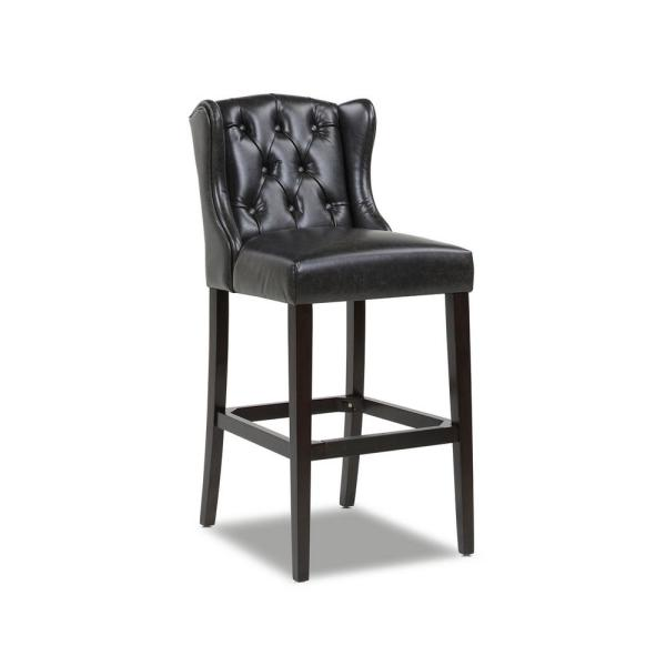 Richmond 30 in. Armless Wingback Tufted Counter Height Bar Stool, Vintage Black Brown Faux Leather