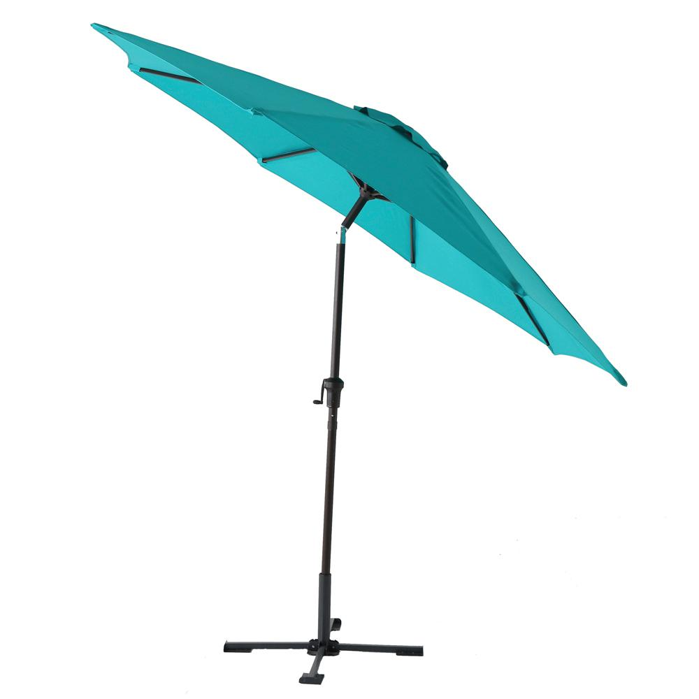 Hampton Bay 9 ft. Steel Tilt Patio Umbrella in Emerald Coast