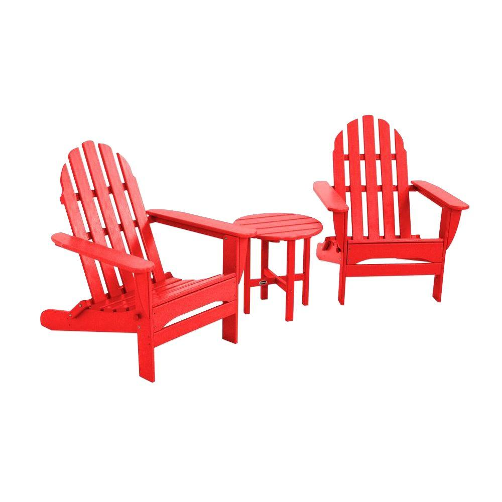Classic Folding Sunset Red 3-Piece Adirondack Patio Seating Set