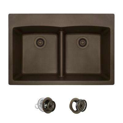 All-in-One Drop-in Granite Composite 33 in. 5-Hole Low-Divide Equal Double Bowl Kitchen Sink in Mocha