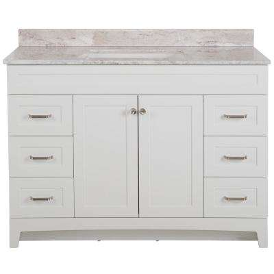 Thornbriar 49 in. W x 39 in. H Bathroom Vanity in White with Stone Effects Vanity Top in Winter Mist with White Sink